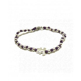 Spadarella Silver baby bracelet, black cord and bear SPBR167