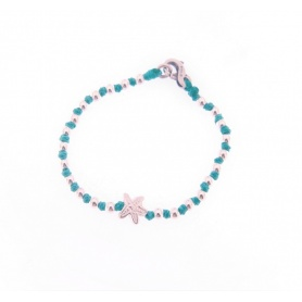 Spadarella Baby bracelet in silver and turquoise cord with star