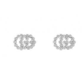 Gucci orecchini GG Running oro bianco con diamanti a lobo