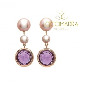 Mimì Happy pendant earrings with amethyst and pearls