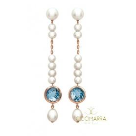 Mimì Glückliche lange Anhängerohrringe mit Topas und Perlen