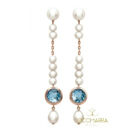 Mimì Happy long pendant earrings with topaz and pearls