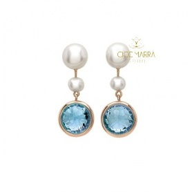 Mimì Happy short pendant earrings with topaz and pearls