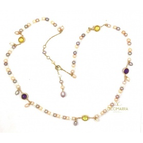 Mimì Happy long gold necklace with pearls and multicolor gems