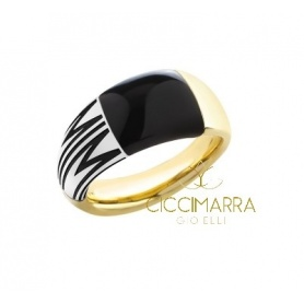 Mimì Tam Tam Ring breites Band in Gold mit Onyx