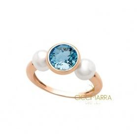 Anello Mimì Happy in oro con topazio azzurro e perle