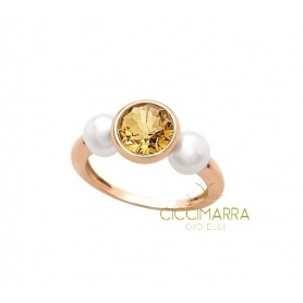 Mimì Happy gold ring with citrine quartz and pearls