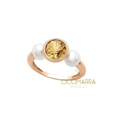 Anello Mimì Happy in oro con quarzo citrino e perle