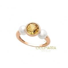 Anello Mimì Happy in oro con quarzo citrino e perle - ALM335R1C