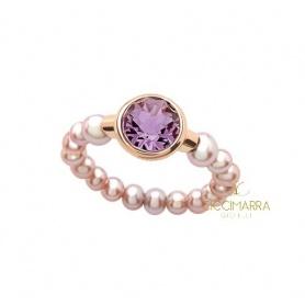 Mimì Happy Ring mit Amethyst und lila Perlen