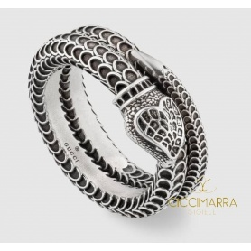 Silver Gucci Garden snake ring