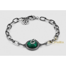 Gucci Garden bracelet in silver and malachite