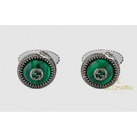 Gucci Garden cufflinks in antiqued silver and malachite