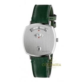 Gucci Grip Damenuhr aus grünem Leder - YA157406