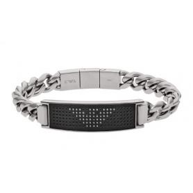 Emporio Armani Herren Stahlband mit schwarzer Mittelplatte