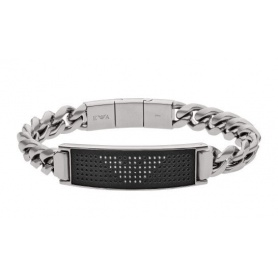 Emporio Armani men's steel bracelet with black central plate