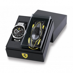 Scuderia Ferrari Speedmetal watch with steel chronograph and toy car