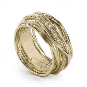Anello Filodellavita 13fili oro giallo e diamanti