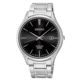 Seiko watch man woman silver black - SGEG95P1