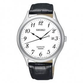 Seiko Uhr arabische Ziffern aus schwarzem Leder - SGEH75P1