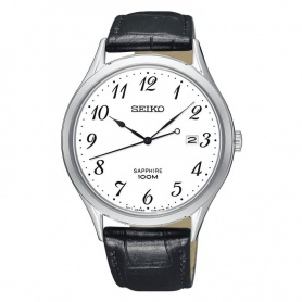 Seiko watch Arabic numerals black leather - SGEH75P1