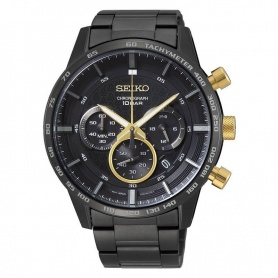 Seiko watch chronograph black and gold - SSB363P1