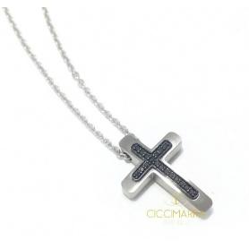 Collana croce Salvini da uomo con diamanti neri 20085448