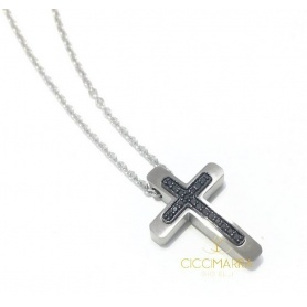 Salvini men's cross necklace with black diamonds 20085448