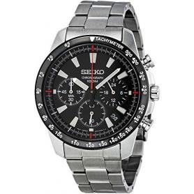 Seiko Uhr männlich Chronograph Stahl schwarzes Zifferblatt - SSB031