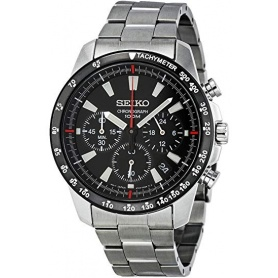 Seiko watch male chronograph steel black dial - SSB031