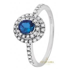 Salvini Dora Ring mit blauem Saphir und Doppelring aus Diamanten