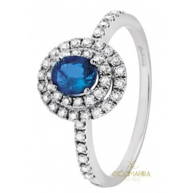 Salvini Dora ring with blue sapphire and double ring of diamonds