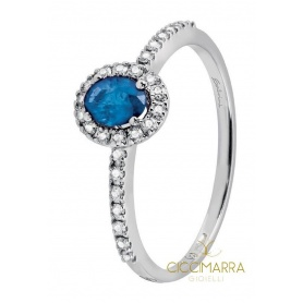 Small Salvini Dora ring with blue and brilliant sapphires