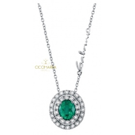 Salvini Dora necklace with Emerald and double row of brilliants