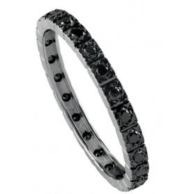 Anello Salvini Veretta in oro bianco e diamanti neri 20085746