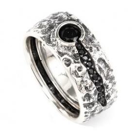 Anello Vulcano Ellius pietra nera - 8000100068247