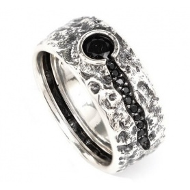 Ellius Vulcano black stone ring - 8000100068247