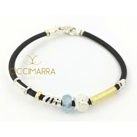 Misani bracelet jewelery Leather accents with gold, silver and Aquamarine