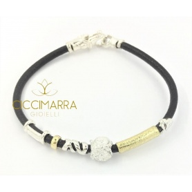 Misani bracelet jewelery Leather accents with gold, silver