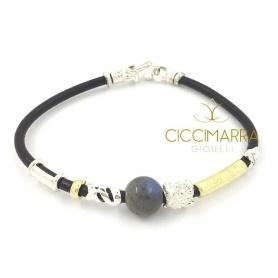 Bracciale Misani gioielli Accenti in cuoio con oro, argento e Labradorite