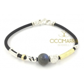 Misani bracelet jewelery Leather accents with gold, silver and Labradorite