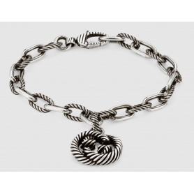 Bracciale Gucci pendente GG argento rigato - YBA607158001017