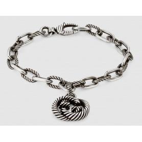 Gucci GG silber gestreiftes Anhängerarmband - YBA607158001017