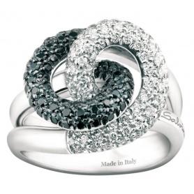 Anello Salvini Armonia S con diamanti bianchi e neri 20029251