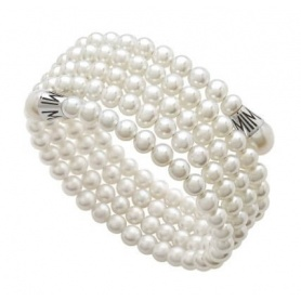 Mimì Lollipop bracelet with five strands of white and silver pearls