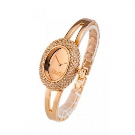 D&G Oval watch steel and crystal pavè, Rosè - DW0278