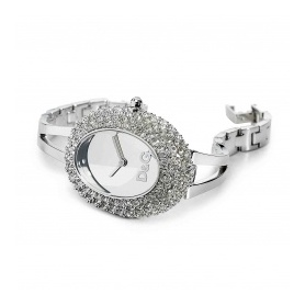 D & G Oval Uhr Stahl und Kristall Pavère, Silber - DW0279