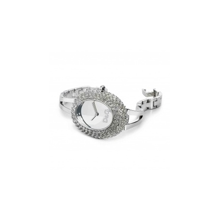 D&G Oval watch steel and crystal pavè, silver - DW0279