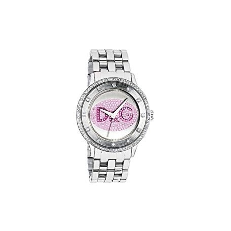 D&G Prime Time watch in steel with glitter logo - DW0848