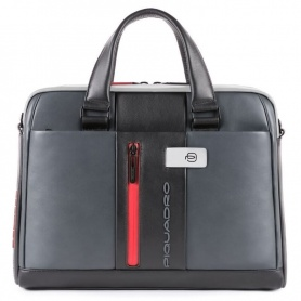 Slim briefcase Piquadro Urban gray and black - CA4098UB00 / GRN